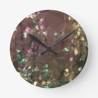 Antique Bronze Abstract Low Polygon Background Round Clock
