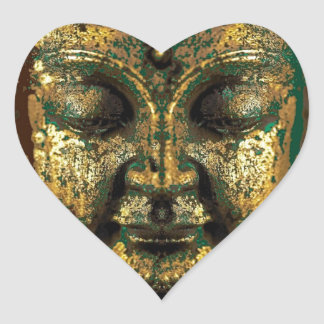 Antique Bronze Buddha Face Gifts by Sharles Heart Sticker