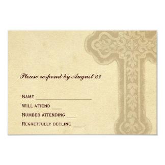 Antique Brown Celtic Cross RSVP Card