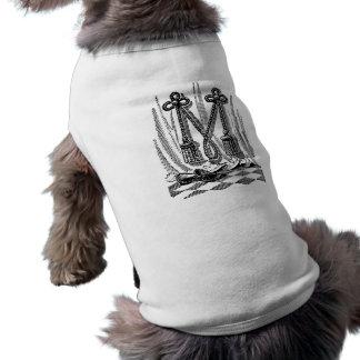 Antique Calligraphy Masonic Symbols Letter M Pet Tee