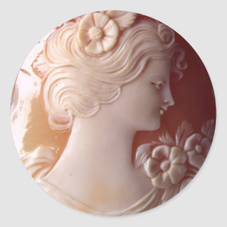 Antique Cameo Classic Round Sticker