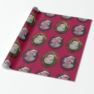 ANTIQUE CAMEO LADIES ,GRAPES GRAPEVINES AND OWL WRAPPING PAPER