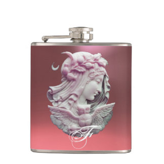 ANTIQUE CAMEO,MOON LADY OF NIGHT WITH OWL MONOGRAM FLASK