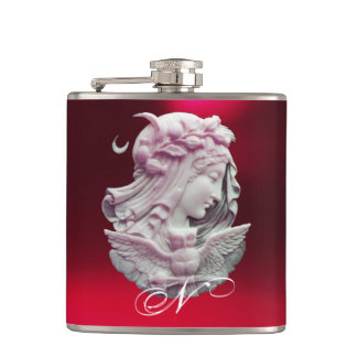 ANTIQUE CAMEO,MOON LADY OF NIGHT WITH OWL MONOGRAM FLASKS