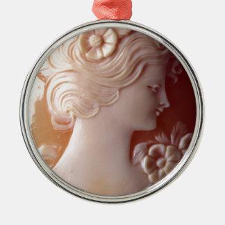 Antique Cameo Silver-Colored Round Ornament