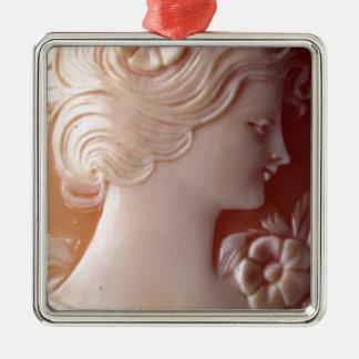 Antique Cameo Silver-Colored Square Ornament