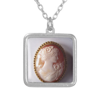 Antique Cameo Silver Plated Necklace
