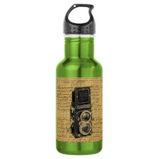antique camera on burlap background