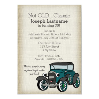 "Antique Car and Burlap Vintage Birthday 5"" X 7"" Invitation Card"