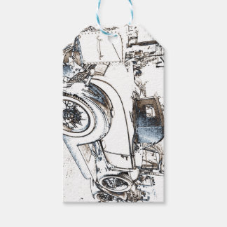 Antique car as a sketch custom gift tag pack of gift tags