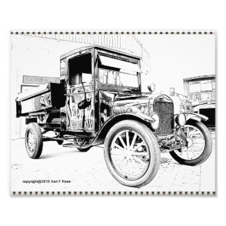 Antique car as a sketch photo print