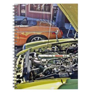 Antique car engine spiral note books