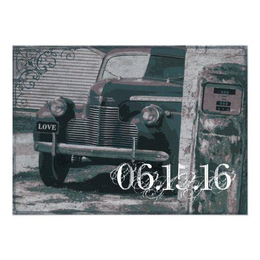Antique Car Gas Pump Vintage Wedding Invitations Custom Announcements