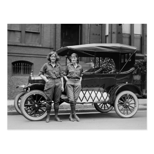 Antique Car Girls, 1920s Post Card