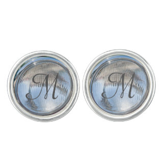 Antique Car headlights monogram template cufflink Cuff Links