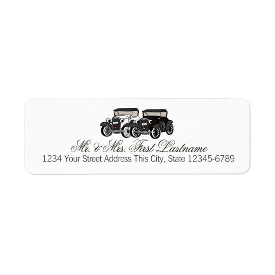 Antique Car His and Hers Return Address Label