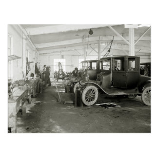 Antique Car Repair Garage, early 1900s Postcard