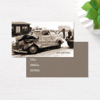 Antique Car Towing Service Repair Shop Sepia Retro Business Card