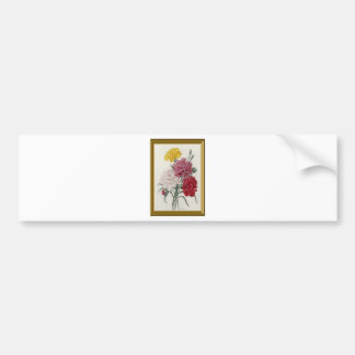 Antique Carnations In A Golden Frame Bumper Sticker