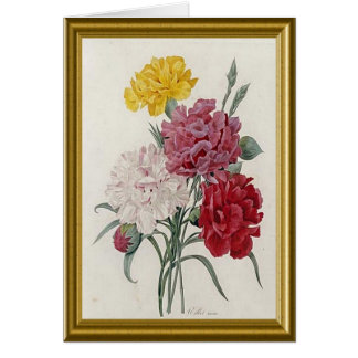 Antique Carnations In A Golden Frame Card