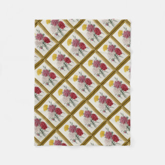 Antique Carnations In A Golden Frame Fleece Blanket