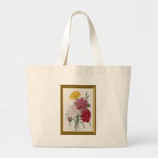 Antique Carnations In A Golden Frame Large Tote Bag
