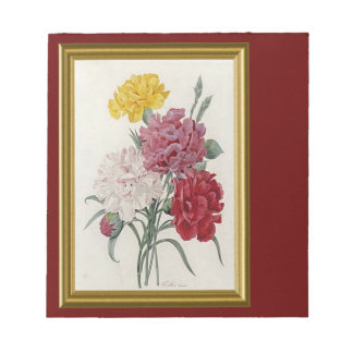 Antique Carnations In A Golden Frame Notepad
