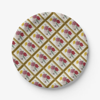 Antique Carnations In A Golden Frame Paper Plate