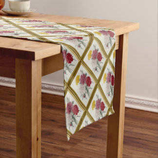 Antique Carnations In A Golden Frame Short Table Runner