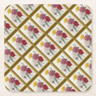 Antique Carnations In A Golden Frame Square Paper Coaster