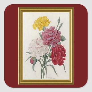Antique Carnations In A Golden Frame Square Sticker