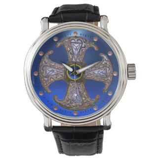 ANTIQUE CELTIC CONSECRATION CROSS Blue Gemstones Wristwatches