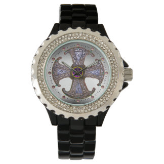 ANTIQUE CELTIC CONSECRATION CROSS Purple Gemstones Watch