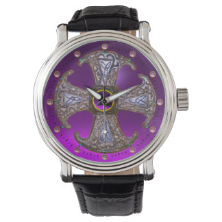 ANTIQUE CELTIC CONSECRATION CROSS Purple Gemstones Watches