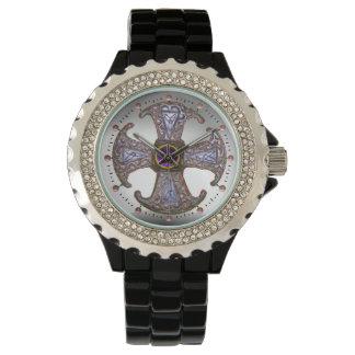 ANTIQUE CELTIC CONSECRATION CROSS Purple Gemstones Wrist Watch
