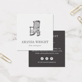 Antique Chair Square Business Card   Charcoal