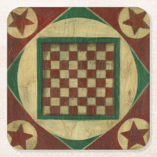 Antique Checkerboard by Ethan Harper Square Paper Coaster
