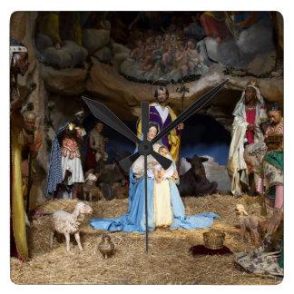Antique Christmas Nativity Scene Wall Clock