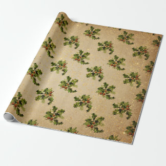 Antique Christmas Plant Red Merry Christmas Gold Wrapping Paper