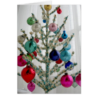 Antique Christmas Tree Greeting Card, Customizable Card