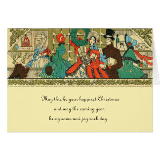 Antique Christmas Victorian Window Shopping Card