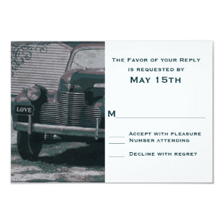 "Antique Classic Car Vintage Wedding RSVP Cards 3.5"" X 5"" Invitation Card"
