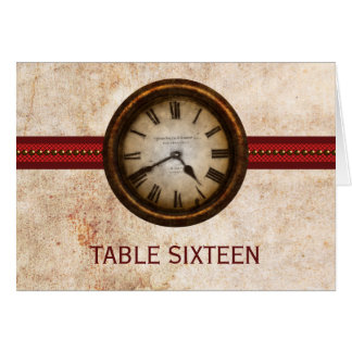 Antique Clock Table Number Card, Red