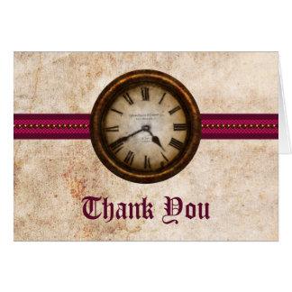 Antique Clock Thank You Card, Fuchsia