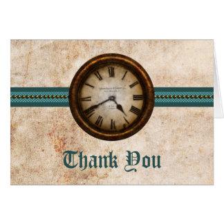 Antique Clock Thank You Card, Teal Card