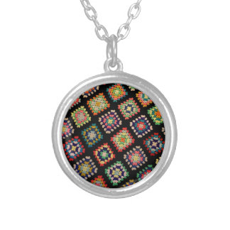 Antique Colorful Granny Squares Classic Pattern Silver Plated Necklace