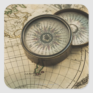 Antique compass on map square stickers
