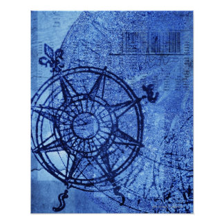 Antique compass rose poster