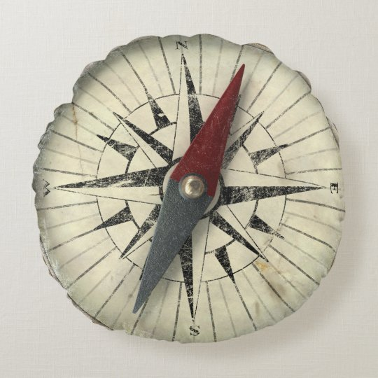 Antique Compass Round Pillow