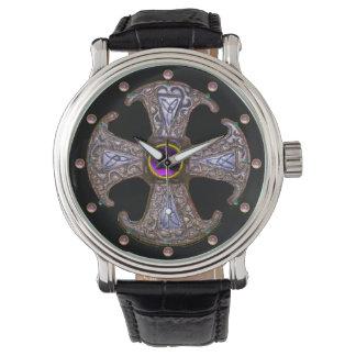 ANTIQUE CONSECRATION CROSS Pink Purple Gemstones Watch